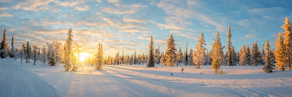Papier Peint Panoramique de paysage hivernal