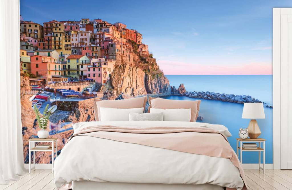 Papier peint Villes - Village sur un rocher en Italie - Chambre à coucher 2