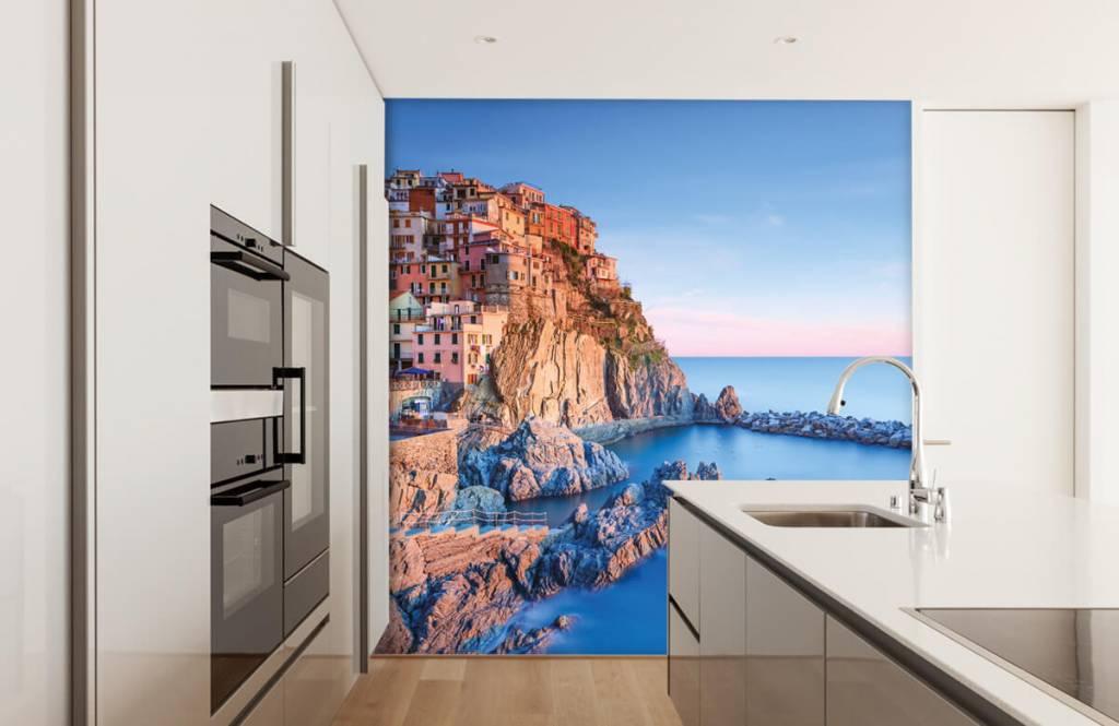 Papier peint Villes - Village sur un rocher en Italie - Chambre à coucher 4