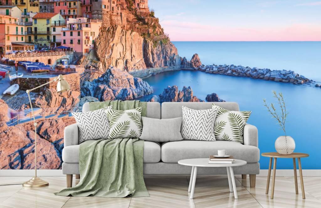 Papier peint Villes - Village sur un rocher en Italie - Chambre à coucher 7