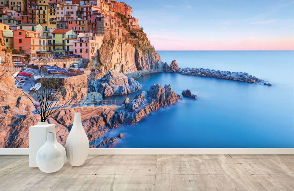 Papier peint Villes - Village sur un rocher en Italie - Chambre à coucher 8