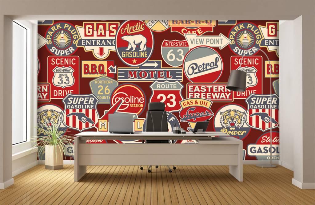 Papier peint texte - Panneaux publicitaires américains - Chambre d'enfants 4