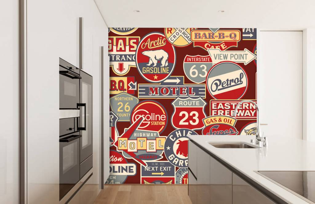 Papier peint texte - Panneaux publicitaires américains - Chambre d'enfants 5