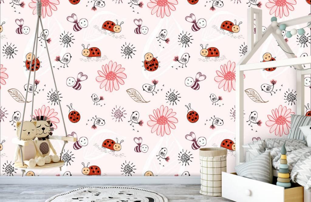 Papier peint bébé - Fleurs et abeilles - Chambre de bébé 1