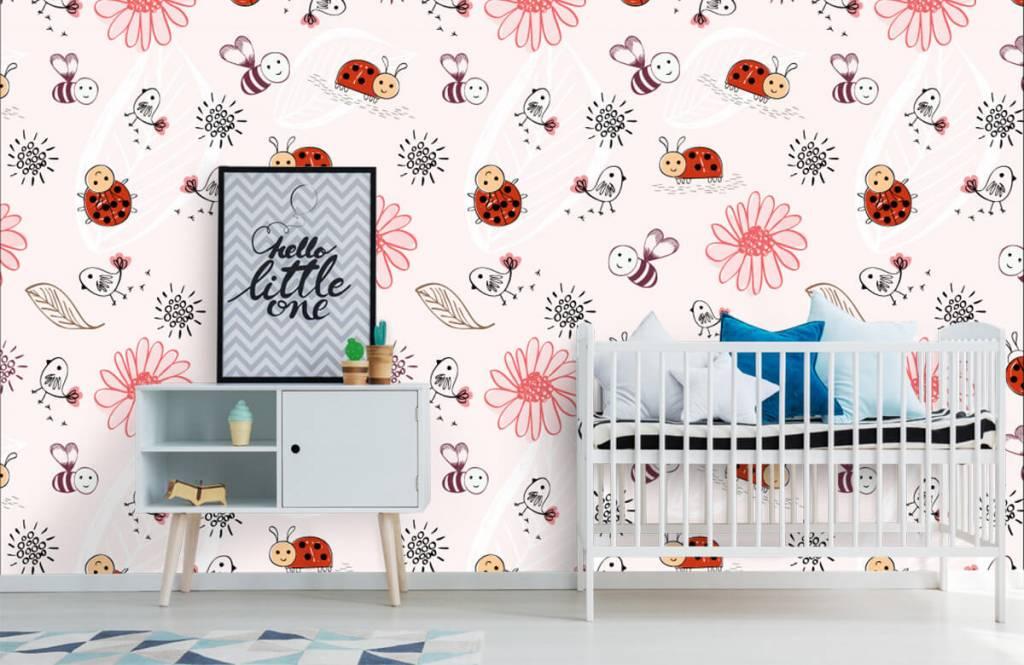 Papier peint bébé - Fleurs et abeilles - Chambre de bébé 7