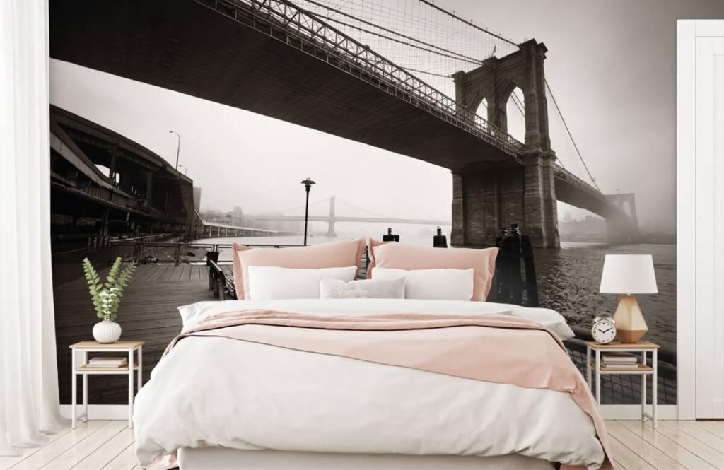 Papier peint noir et blanc - pont de Brooklyn - Chambre d'adolescent 2