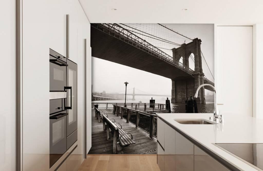 Papier peint noir et blanc - pont de Brooklyn - Chambre d'adolescent 4