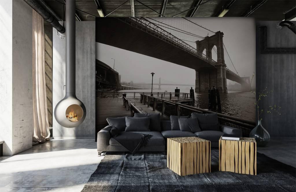 Papier peint noir et blanc - pont de Brooklyn - Chambre d'adolescent 7