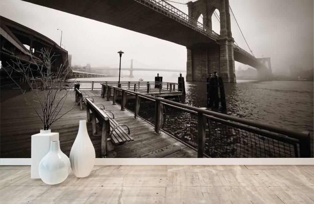 Papier peint noir et blanc - pont de Brooklyn - Chambre d'adolescent 8