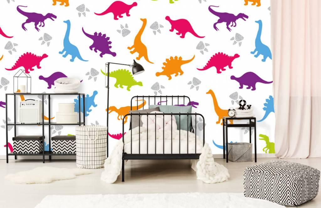 Papier peint garçons - Dinosaures et empreintes de pattes - Chambre d'enfants 2