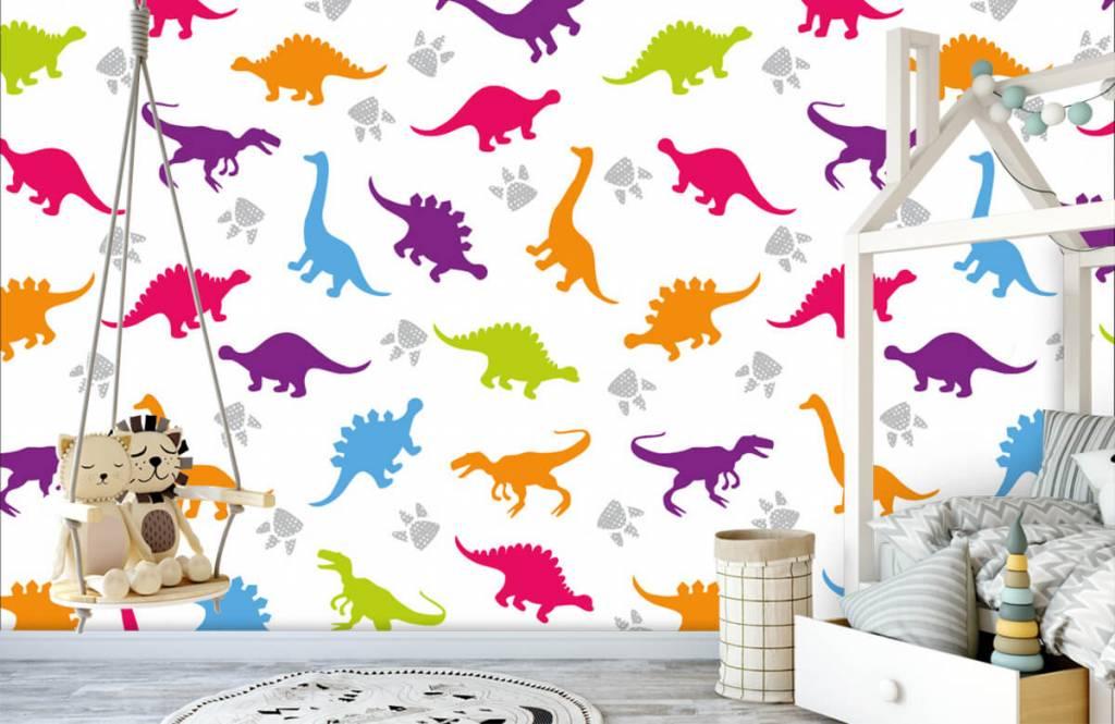 Papier peint garçons - Dinosaures et empreintes de pattes - Chambre d'enfants 3