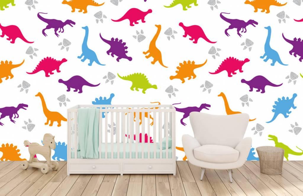 Papier peint garçons - Dinosaures et empreintes de pattes - Chambre d'enfants 5