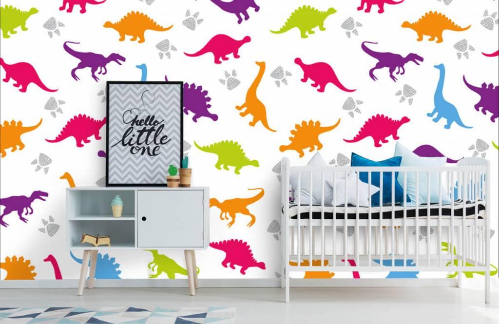 Papier peint garçons - Dinosaures et empreintes de pattes - Chambre d'enfants 6