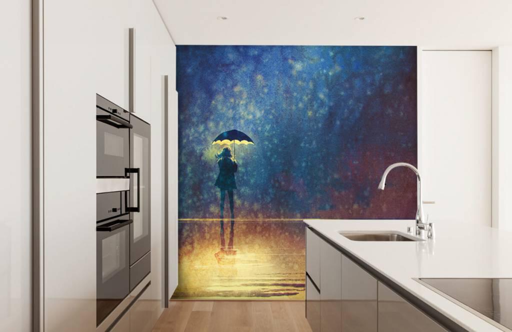 Papier peint moderne - Fille seule sous la pluie - Salle de Loisirs 4