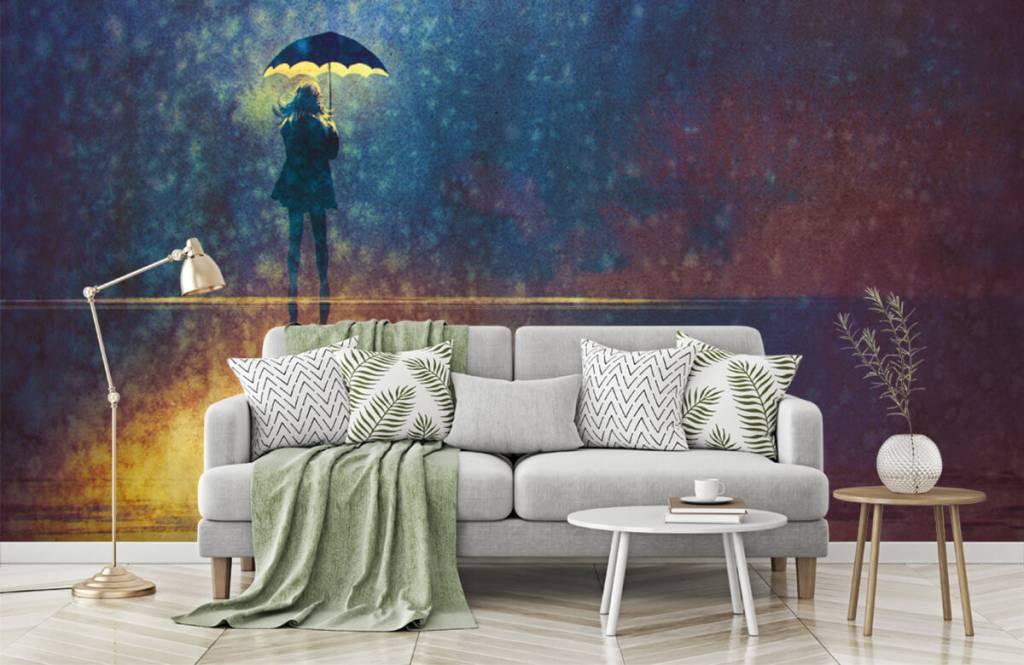 Papier peint moderne - Fille seule sous la pluie - Salle de Loisirs 7