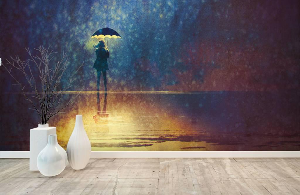 Papier peint moderne - Fille seule sous la pluie - Salle de Loisirs 8