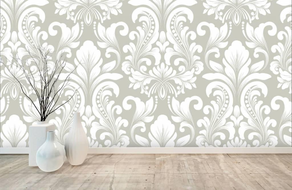 Papier peint baroque - Motif brouillard nuageux - Chambre à coucher 1