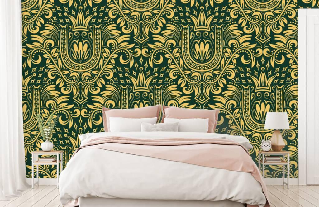 Papier peint baroque - Motif baroque vert - Chambre à coucher 2
