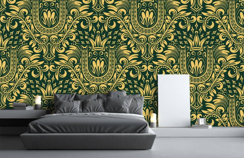 Papier peint baroque - Motif baroque vert - Chambre à coucher 3