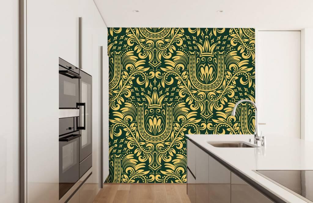 Papier peint baroque - Motif baroque vert - Chambre à coucher 4