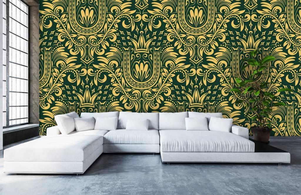 Papier peint baroque - Motif baroque vert - Chambre à coucher 6