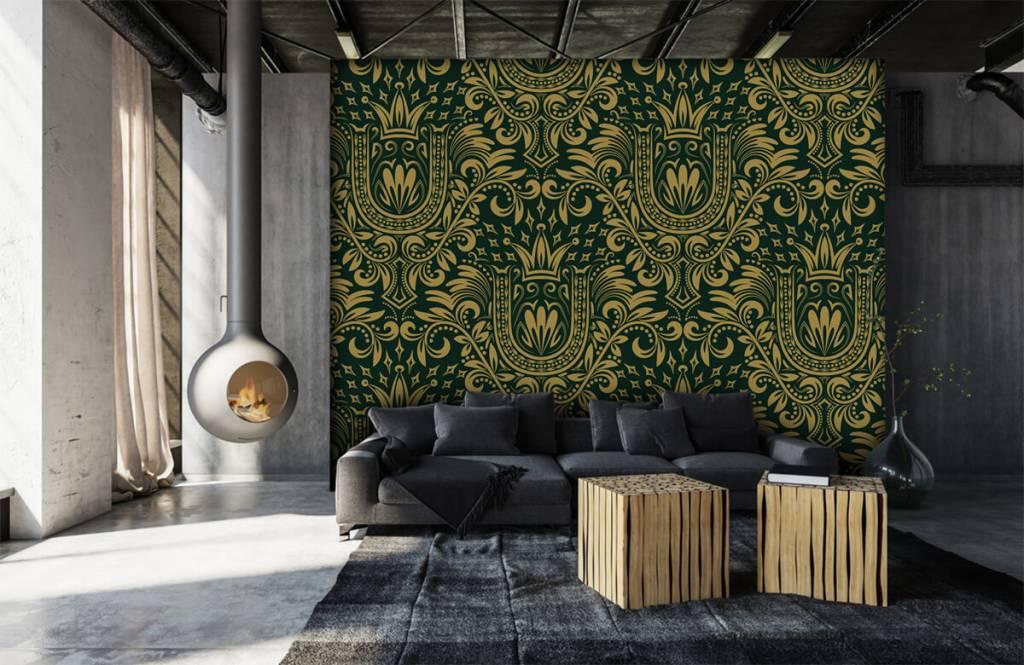 Papier peint baroque - Motif baroque vert - Chambre à coucher 7