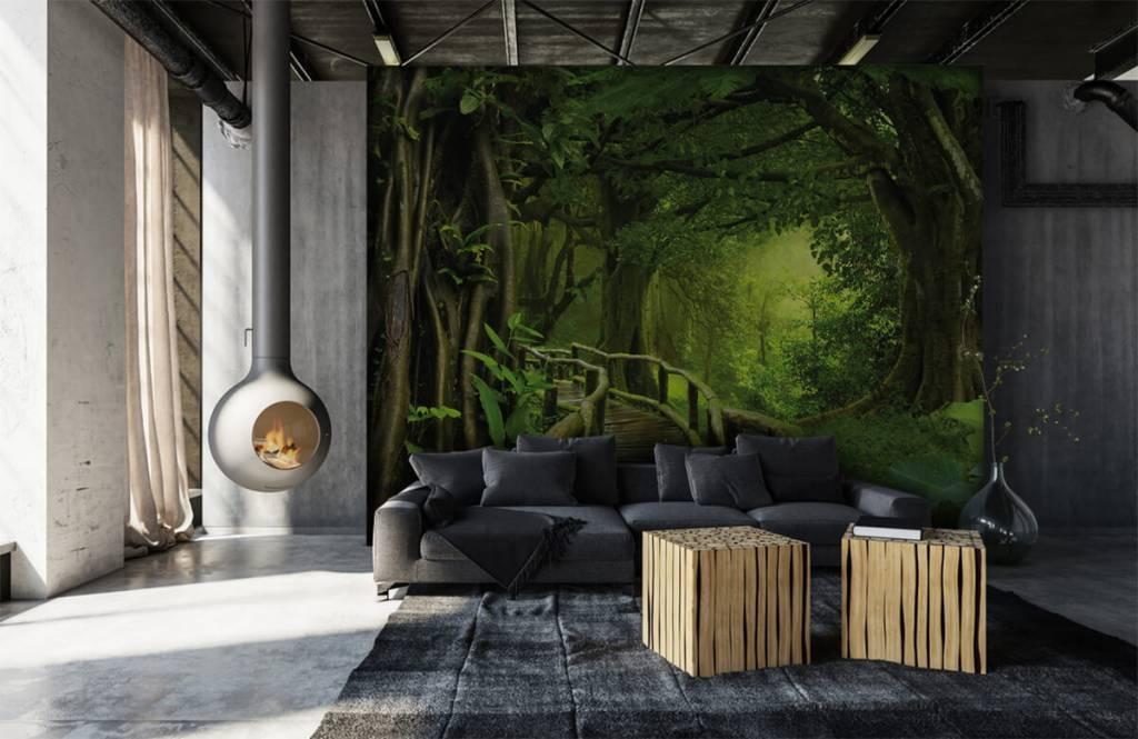 Arbres - Pont en bois à travers une jungle verte - Chambre à coucher 6