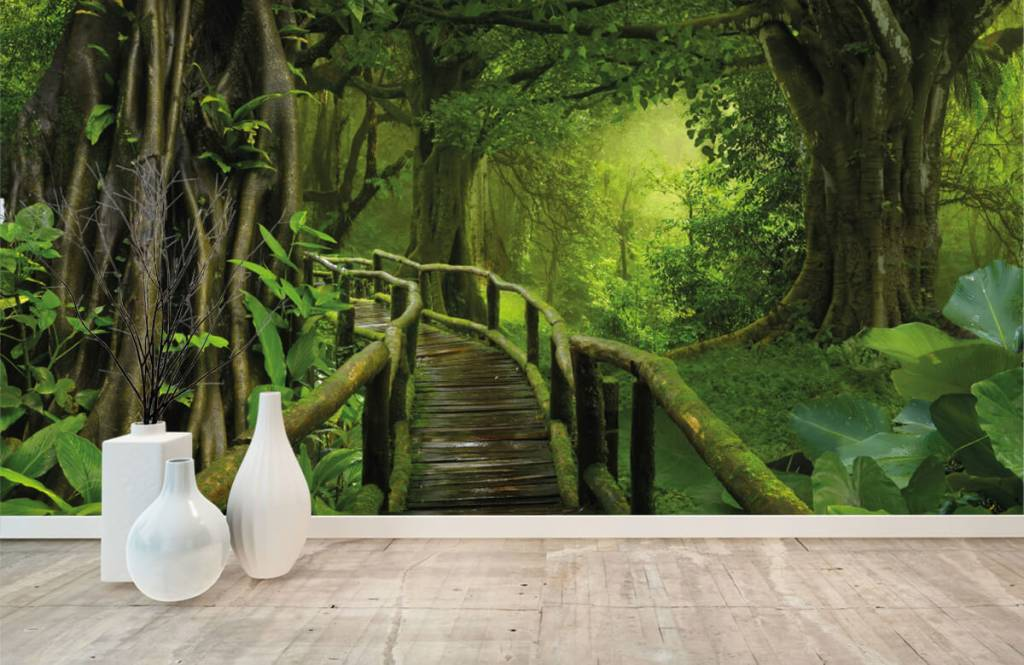 Arbres - Pont en bois à travers une jungle verte - Chambre à coucher 8