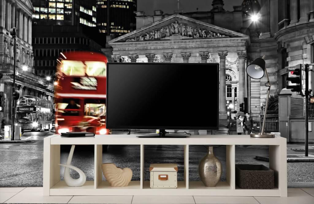 Papier peint noir et blanc - Bus rouge à Londres - Chambre d'adolescent 5