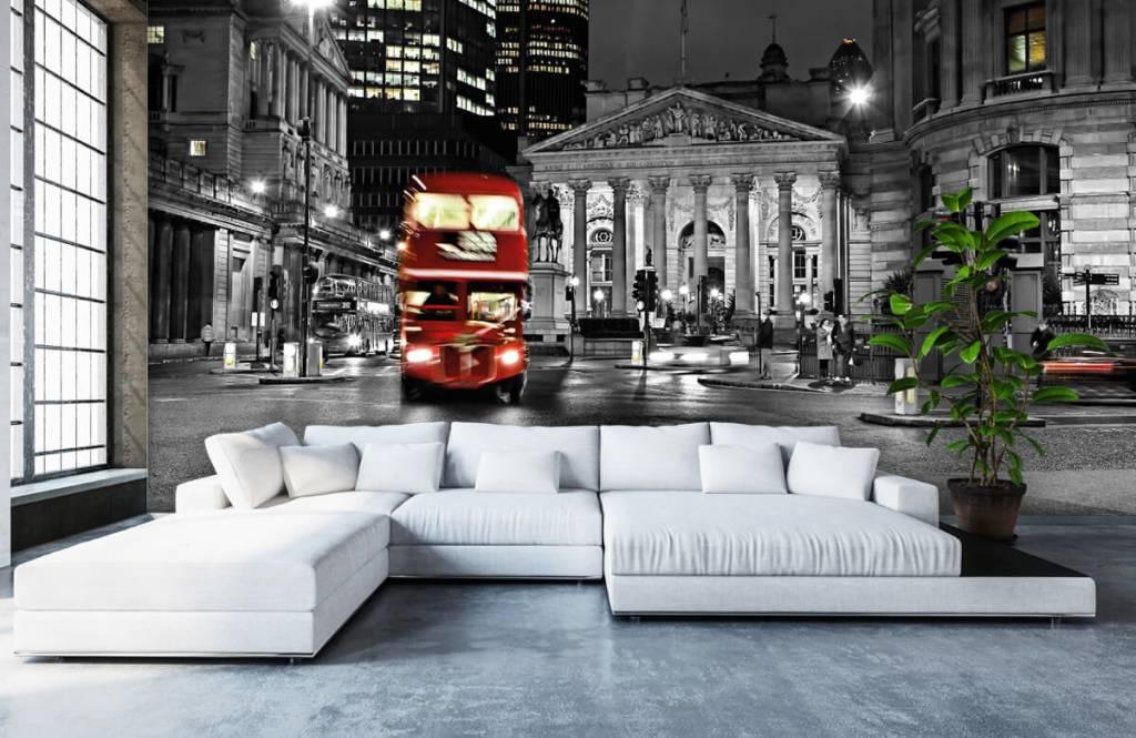 Papier peint noir et blanc - Bus rouge à Londres - Chambre d'adolescent 6