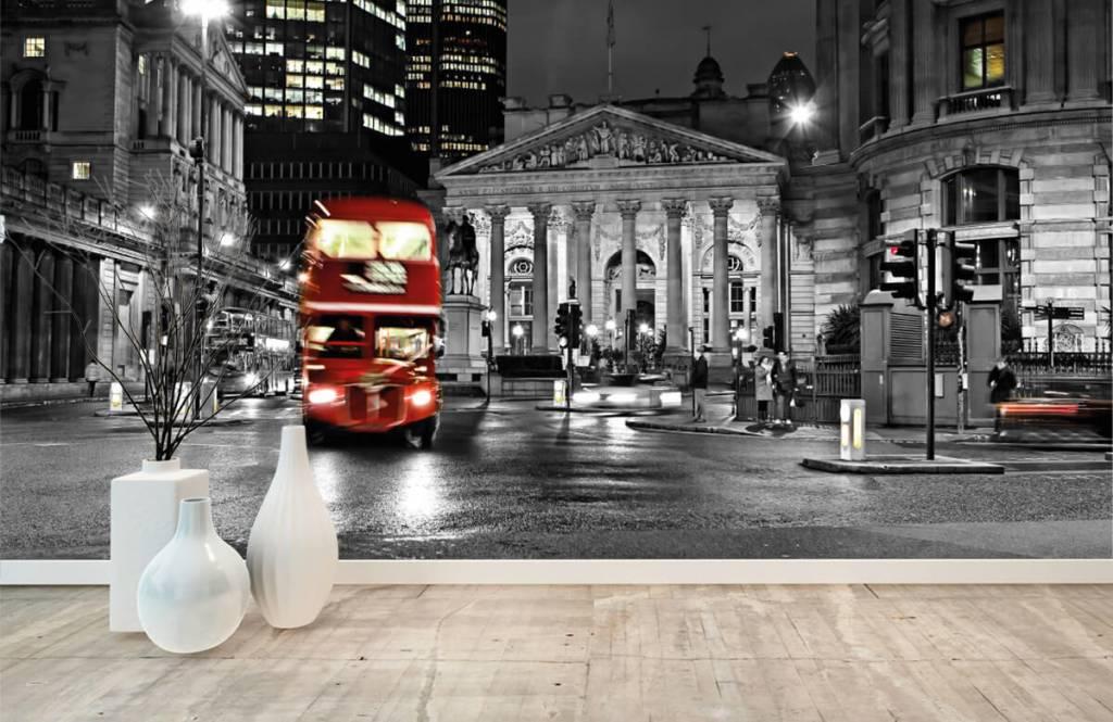 Papier peint noir et blanc - Bus rouge à Londres - Chambre d'adolescent 8