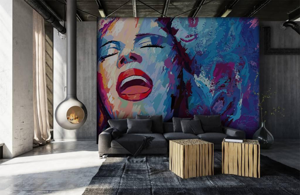 Papier peint moderne - Peinture d'une femme abstraite - Chambre d'adolescent 1