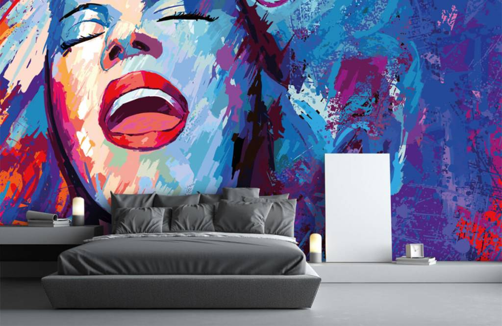Papier peint moderne - Peinture d'une femme abstraite - Chambre d'adolescent 3