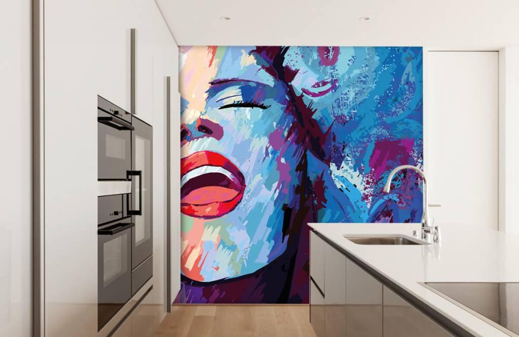 Papier peint moderne - Peinture d'une femme abstraite - Chambre d'adolescent 4