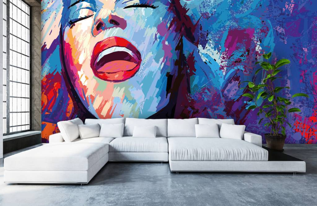 Papier peint moderne - Peinture d'une femme abstraite - Chambre d'adolescent 6