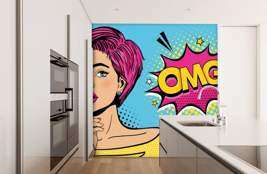 Papier peint moderne - Femme au style pop art - Chambre d'adolescent 4