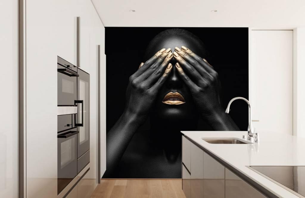 Papier peint moderne - Femme avec les mains devant les yeux - Salle de séjour 4