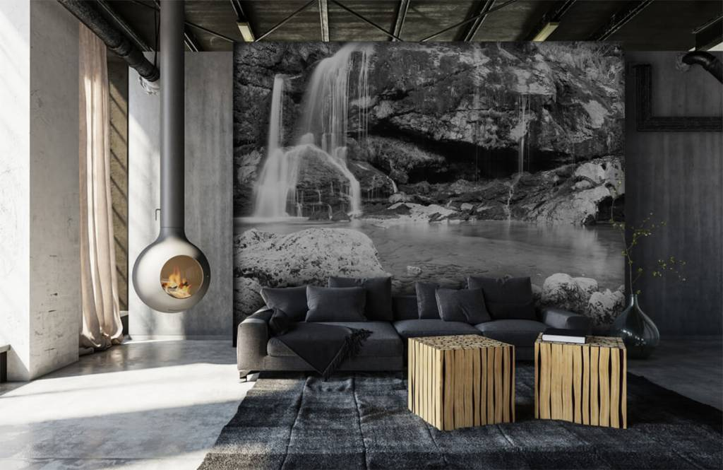 Papier peint noir et blanc - Chute d'eau au-dessus d'un mur de pierre - Chambre à coucher 7