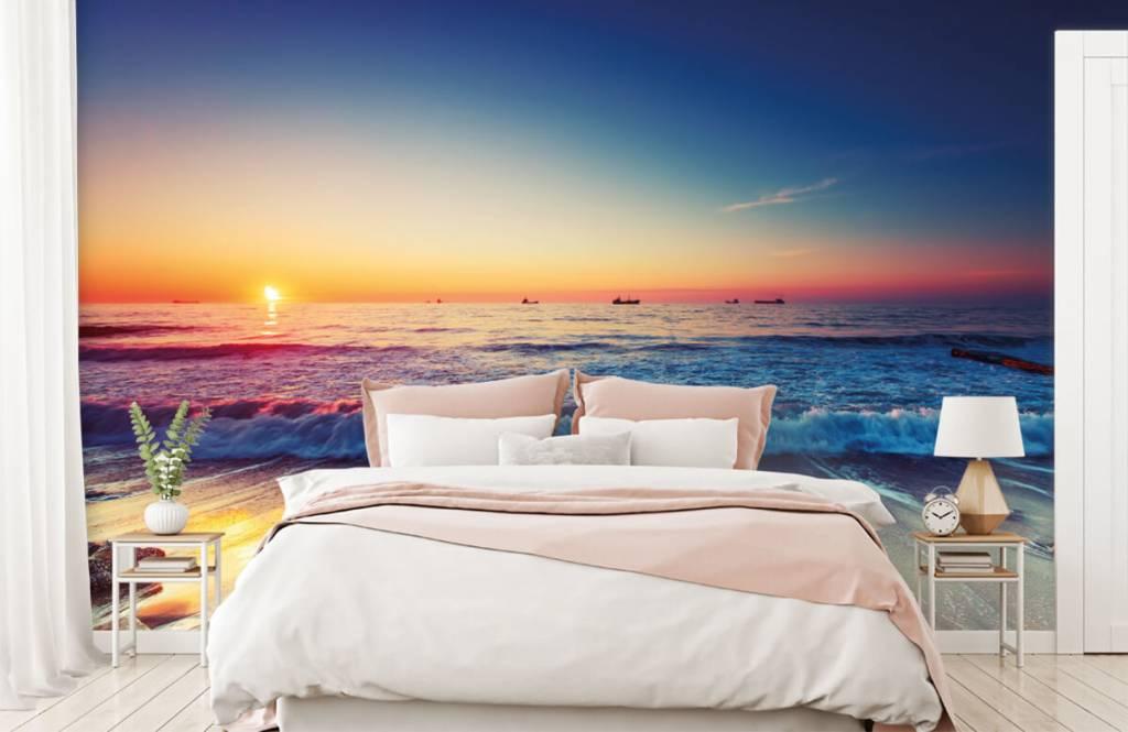Papier peint de la plage - Coucher de soleil sur la mer - Chambre à coucher 2