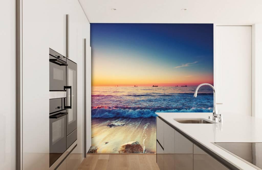 Papier peint de la plage - Coucher de soleil sur la mer - Chambre à coucher 4
