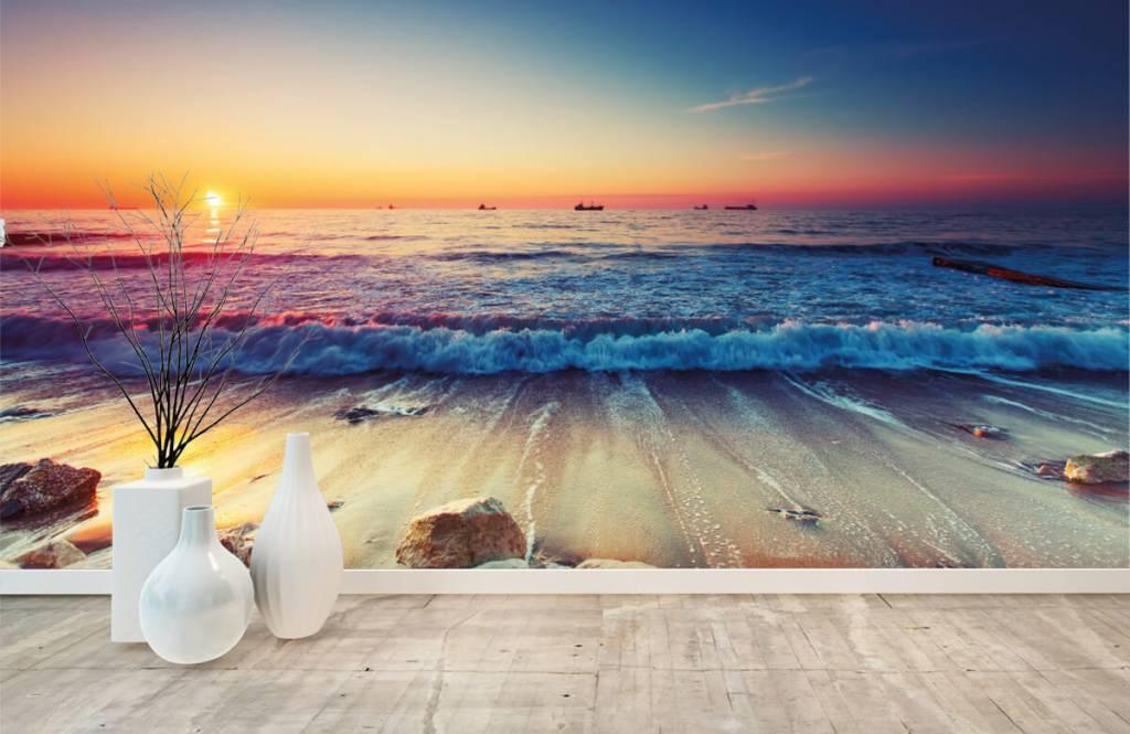 Papier peint de la plage - Coucher de soleil sur la mer - Chambre à coucher 8