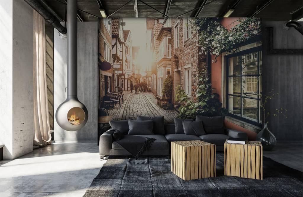 Papier peint Villes - Coucher de soleil dans une vieille rue - Chambre à coucher 3