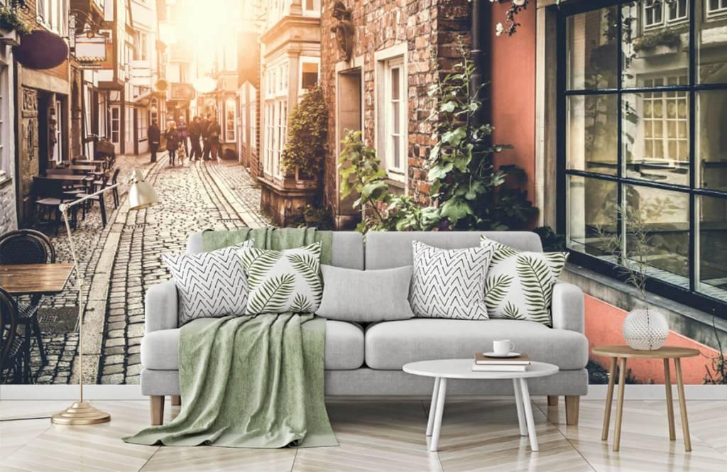 Papier peint Villes - Coucher de soleil dans une vieille rue - Chambre à coucher 8
