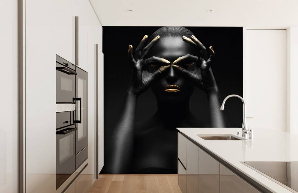 Portraits et visages - Femme peinte en noir - Salle de séjour 2
