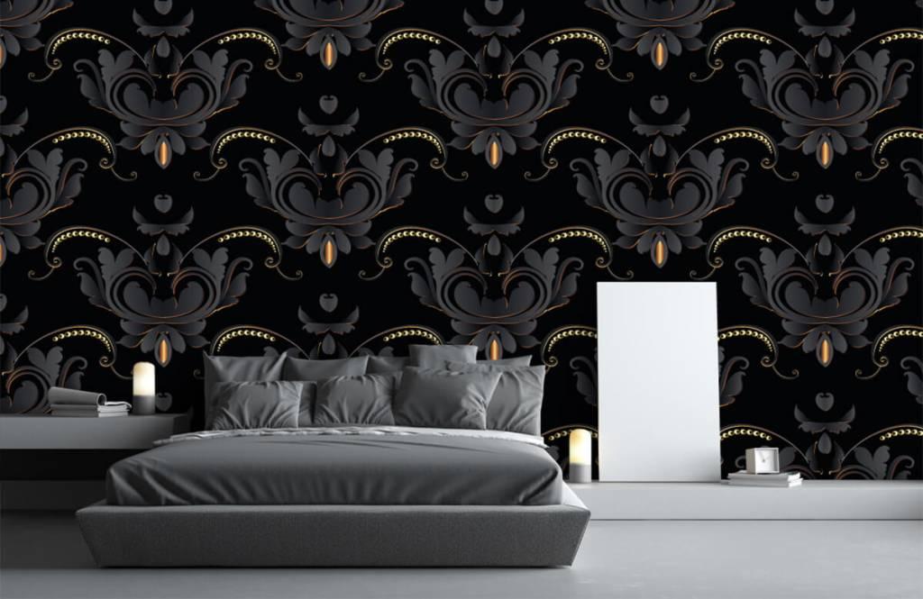 Papier peint baroque - Motif baroque en or noir - Chambre à coucher 1
