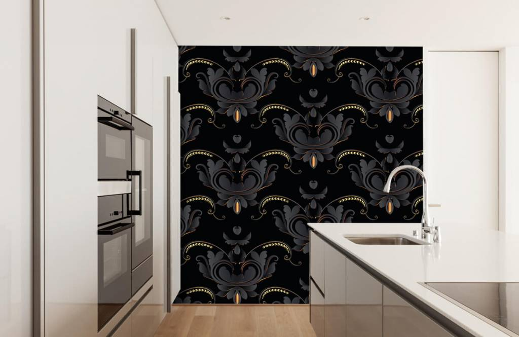 Papier peint baroque - Motif baroque en or noir - Chambre à coucher 4