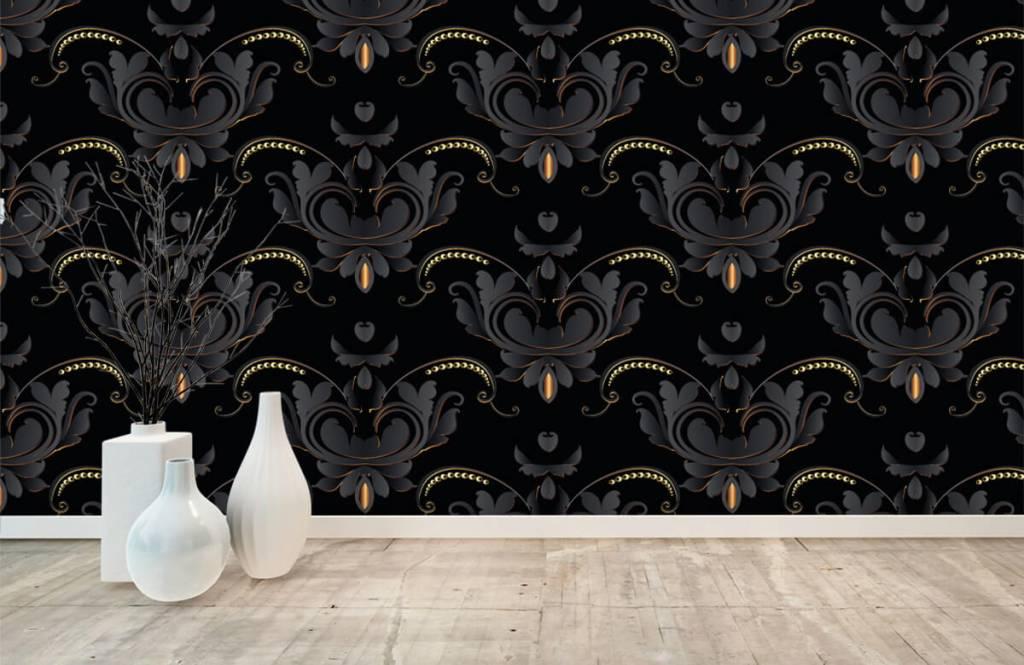 Papier peint baroque - Motif baroque en or noir - Chambre à coucher 8