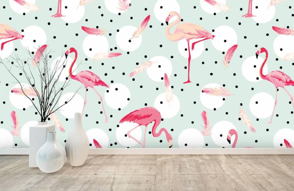 Papier peint enfants - Flamants et plumes roses - Chambre d'enfants 1