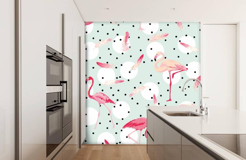 Papier peint enfants - Flamants et plumes roses - Chambre d'enfants 4