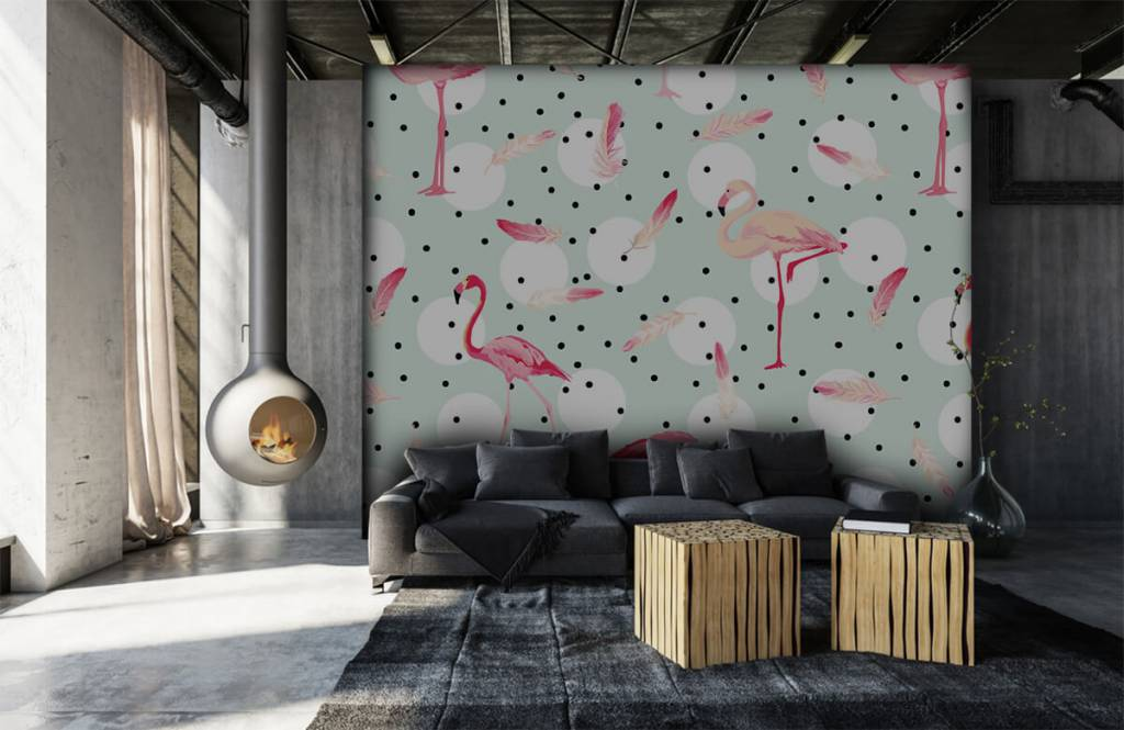 Papier peint enfants - Flamants et plumes roses - Chambre d'enfants 7